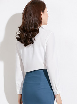 White Casual Standing Collar Long Sleeve Chiffon Blouse