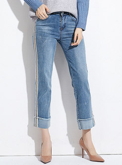 Casual Light Blue High Waist Easy-matching Denim Pants