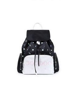 Fashion Hit Color Zipper Pocket Printed Backpack