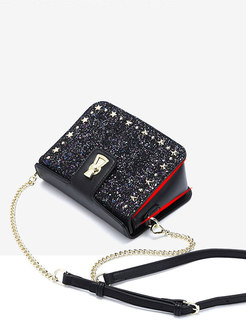 Chic Black Shimmer Sequined Chain Tote & Crossbody Bag