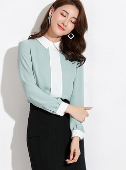 Stylish Color-blocked Turn-down Collar Chiffon Blouse