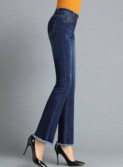 Chic Slim Tassel Selvedge Denim Flare Pants
