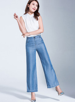 Solid Color Pocket Slit Loose Wide Leg Pants