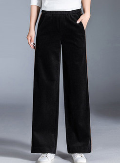 Fashion Corduroy Elastic High Waist Wide Leg Pants