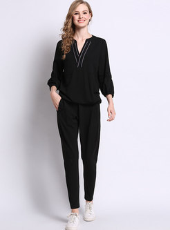 Casual Black V-neck Long Sleeve Top & High Waist Slim Pants