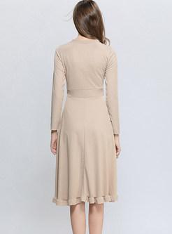 V-neck Tie-waist Big Hem Knitted A Line Dress