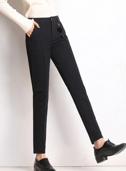 High Waist Elastic Slim Solid Color Pencil Pants