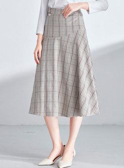 Chic Plaid High Waist A Line Skirt
