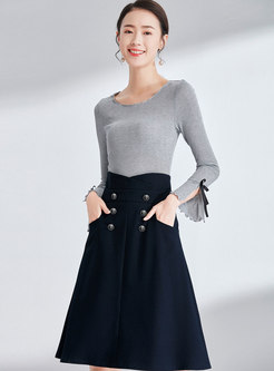 Brief Grey Flare Sleeve Slim Sweater & High Waist Double-breasted A Line Skirt
