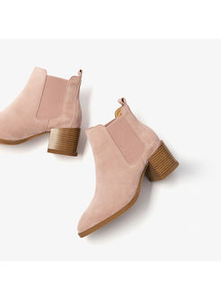 Stylish Pointed Toe Chunky Heel Ankle Boots