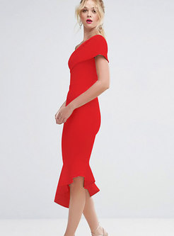 Sexy Solid Color One Shoulder Slim Mermaid Dress