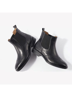 Brief Cowhide Low Heel Ankle Boots