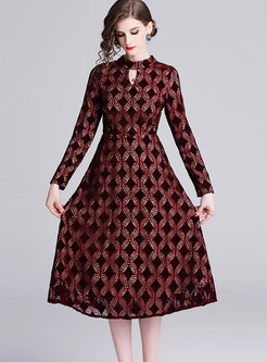 Standing Collar Long Sleeve Lace A Line Dress