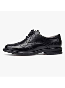 Lace-up Flat Heel Genuine Leather Oxford