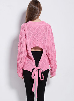 V-neck Long Sleeve Backless Tied Pullover Sweater