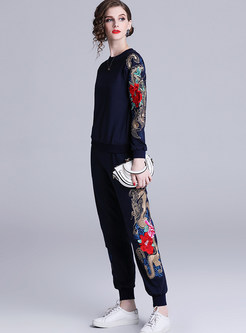 Casual O-neck Long Sleeve Embroidered Sweatshirt Suit