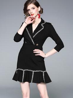 Black Falbala Fringed Patchwork Mini Dress