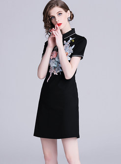 Lapel Short Sleeve Embroidered Beaded Bodycon Dress