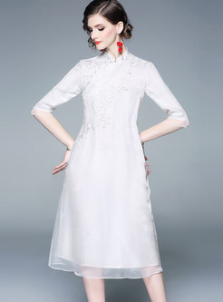 Retro Mandarin Collar Half Sleeve Shift Dress