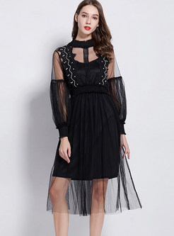 Black Sexy Perspective Lantern Sleeve Dress With Sling