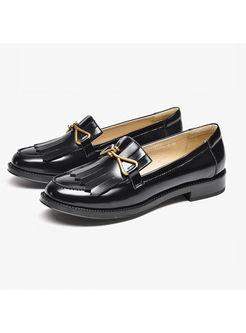 Vintage Tassel Flat Heel Buckle Casual Loafers