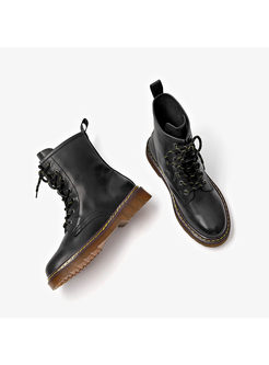 Women Vintage Lace Up Flat Heel Daily Boots