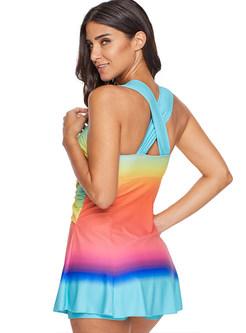Trendy Color-blocked Conservative Mini Tankini