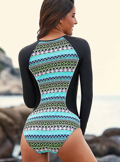 Color-blocked Long Sleeve Zippered One Piece Swimwear