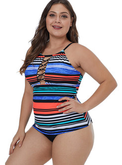 Striped Hollow Out Plus Size One Piece Swimwear