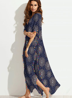Bohemia Plus Size V-neck Printed Big Hem Maxi Dress