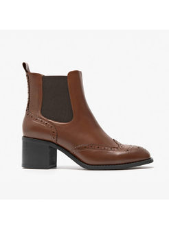 Winter Square Toe Chunky Heel Daily Ankle Boots