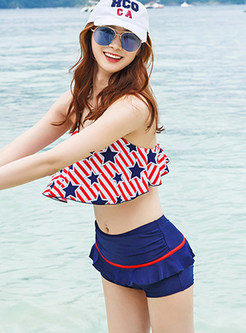 Sweet Falbala Star Print Striped Tankini
