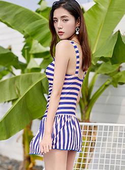 Fashion Striped Bandeau Conservative Gathered Swimwear