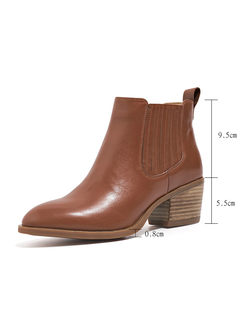Vintage Pointed Toe Chunky Heel Ankle Boots