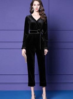 Vintage Black V-neck Long Sleeve Velvet Jumpsuits