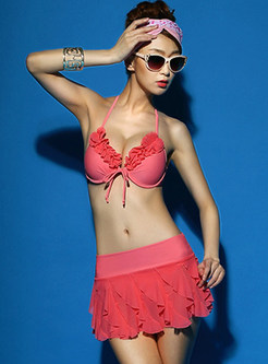 Sexy Solid Color Falbala Halter Tied Bikini