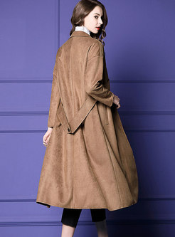 Khaki Lapel Easy-matching Suede Belted Coat