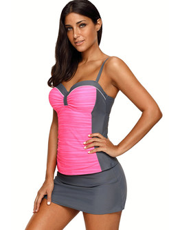 Color-blocked Conservative Gathered Plus Size Tankini