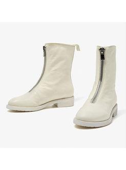 Women Spring/fall Zipper Low Heel Leather Boots