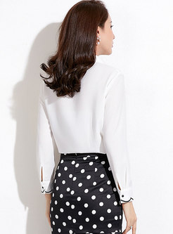 White Turn-down Collar All-matched Brief Blouse