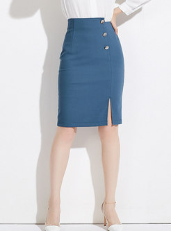 Blue Elegant Easy-matching Wrap Split Sheath Skirt