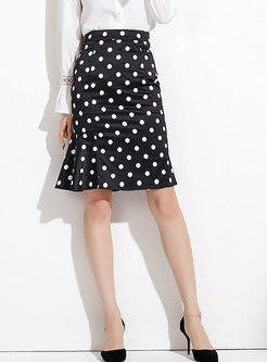 Fashion Retro High Waist Dots Mermaid Skirt