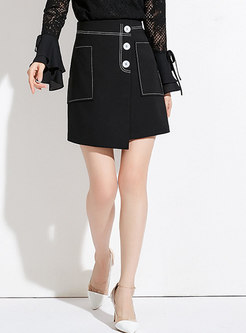 Stylish Black High-rise All-matched Mini Skirt