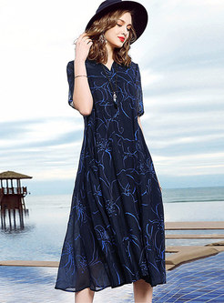 Trendy Navy V-neck High Waist Big Hem Dress