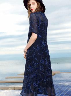 Trendy Navy V-neck High Waist Big Hem Dress
