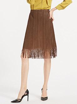 Caramel Mid Waist Loose Pleated Knee-length Skirt