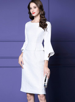 White Crew-neck Flare Sleeve Fake Two-piece Dress