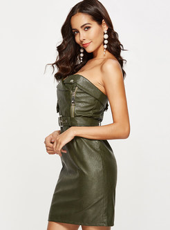 Sexy Bandeau PU Slim Slit Mini Bodycon Dress