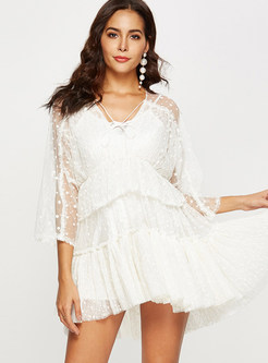 V-neck Perspective Mesh Splicing Skater Dress