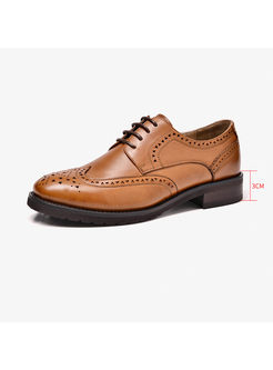 Vintage Round Toe Lace Up Flat Oxford